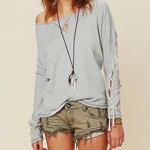 Free People lace-up pullover